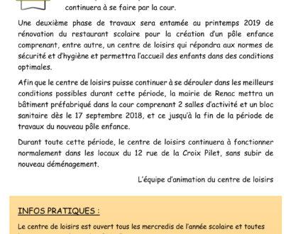 Organisation du centre de loisirs à Renac pendant les travaux ...