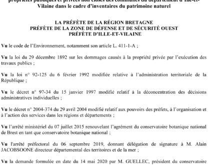 Arrêté préfectoral : Autorisation de pénétrer dans les propriétés privées pour l'inventaire du patrimoine naturel