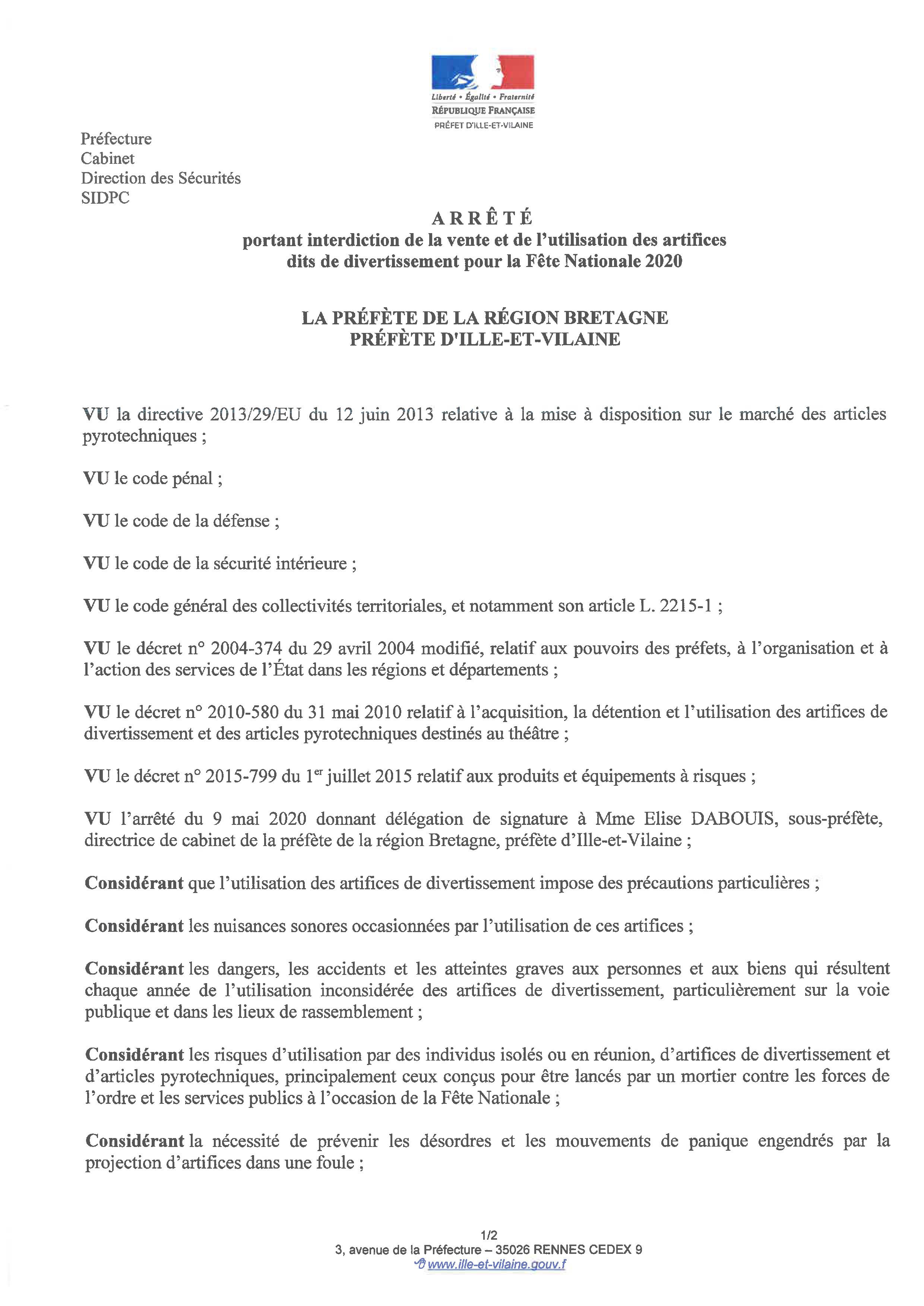 Arrêté préfectoral : Interdiction de vente et d'utilisation des artifices pour la Fête Nationale